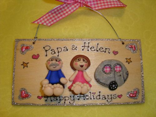 Two character (including pet(s) + Caravan  3d Family Sign Personalised & Customised Every One Unique Handmade To Order